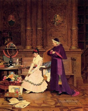 George Painting - The Reprimand academic painter Jehan Georges Vibert