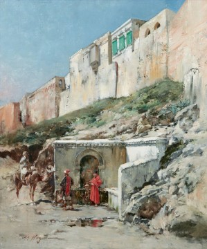 HALTE DEVANT UNE FONTAINE BREAK AT A FOUNTAIN Victor Huguet Orientalist Oil Paintings