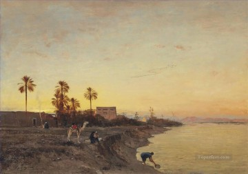On the banks of the Nile Egypt Victor Huguet Orientalist Oil Paintings