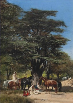 Resting under a tree Victor Huguet Orientalist Oil Paintings