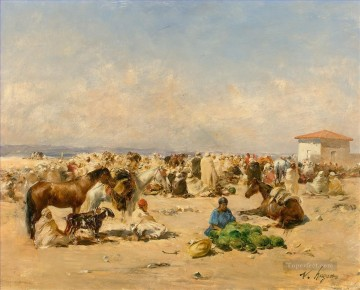 Scene de marche Victor Huguet Orientalist Oil Paintings
