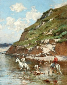 CAVALIERS DANS OUED RIDERS IN A OUED Victor Huguet Orientalist Oil Paintings