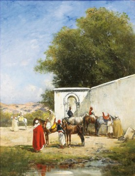 CHEVAUX a ABREUVOIR Victor Huguet Orientalist Oil Paintings