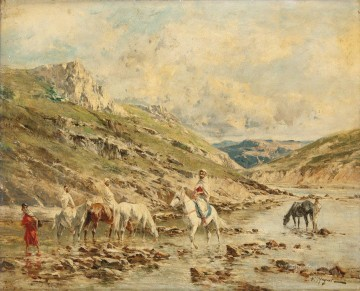 Cavaliers traversant un oued Victor Huguet Orientalist Oil Paintings