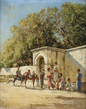 Fontaine aux environs de Tunis Victor Huguet Orientalist Oil Paintings