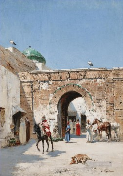 HORSEMAN AT THE DOOR OF A NORTH AFRICAN TOWN Victor Huguet Orientalist Oil Paintings