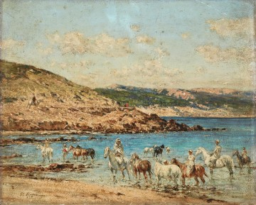 Horses Drinking Victor Huguet Orientalist Oil Paintings