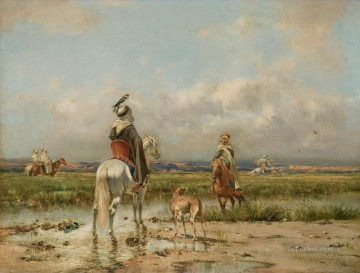 Artworks by 350 Famous Artists Painting - La chasse au faucon Victor Huguet Orientalist