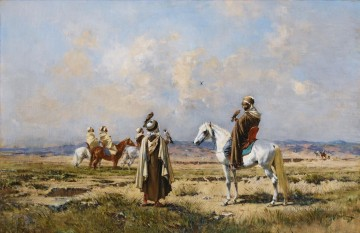 THE FALCONERS Victor Huguet Orientalist Oil Paintings