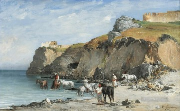 THE HALT OF HORSEMEN ON THE BEACH Victor Huguet Orientalist Oil Paintings