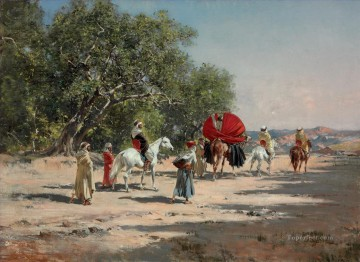Artworks by 350 Famous Artists Painting - The Caravan Victor Huguet Orientalist