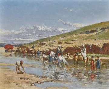 Crossing the Wadi Victor Huguet Orientalist Oil Paintings