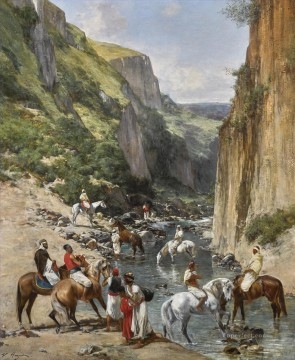 RIDERS IN A RAVINE Victor Huguet Orientalist Oil Paintings