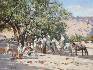 Resting at an Oasis Victor Huguet Orientalist Oil Paintings