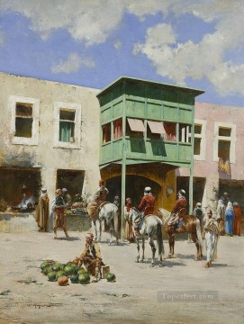 The turkish market Victor Huguet Orientalist Oil Paintings