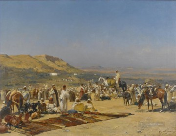 MARKET IN THE DESERT Victor Huguet Orientalist Oil Paintings