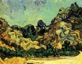 Mountains at Saint Remy with Dark Cottage Vincent van Gogh