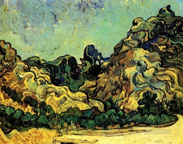 Gogh Canvas - Mountains at Saint Remy with Dark Cottage Vincent van Gogh