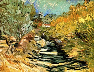 A Road in St Remy with Female Figures Vincent van Gogh Oil Paintings