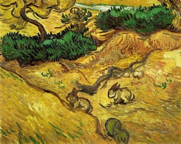 Rabbit Painting - Field with Two Rabbits Vincent van Gogh