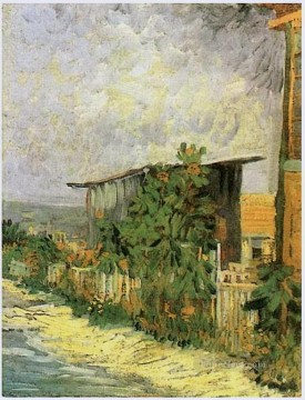 sunflower sunflowers Painting - Montmartre Path with Sunflowers Vincent van Gogh