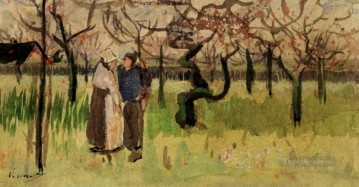 Orchard in Blossom with Two Figures Spring Vincent van Gogh Oil Paintings