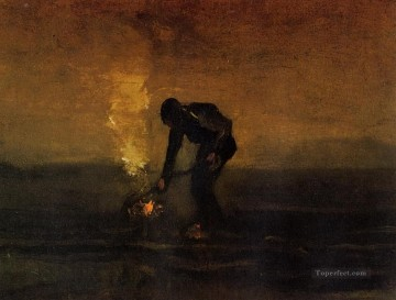 Vincent Van Gogh Painting - Peasant Burning Weeds Vincent van Gogh