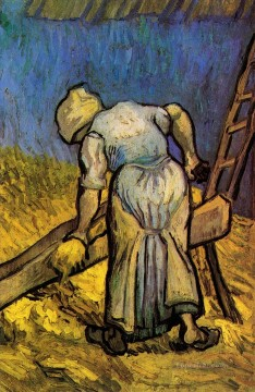 Peasant Woman Cutting Straw after Millet Vincent van Gogh Oil Paintings