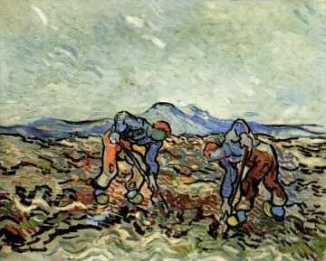 Peasants Lifting Potatoes 2 Vincent van Gogh Oil Paintings