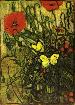 Poppies and Butterflies Vincent van Gogh Oil Paintings