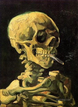 Vincent Van Gogh Painting - Skull with Burning Cigarette Vincent van Gogh