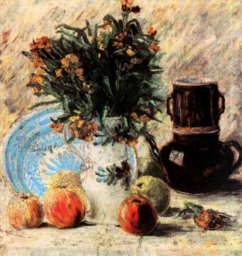Vincent Van Gogh Painting - Vase with Flowers Coffeepot and Fruit Vincent van Gogh