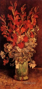 Vincent Van Gogh Painting - Vase with Gladioli and Carnations Vincent van Gogh