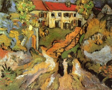 Village Street and Steps in Auvers with Two Figures Vincent van Gogh Oil Paintings