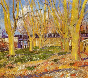 Vincent Van Gogh Painting - Avenue of Plane Trees near Arles Station Vincent van Gogh