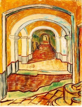 Corridor in the asylum Vincent van Gogh Oil Paintings