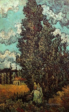 Cypresses and Two Women Vincent van Gogh Oil Paintings