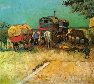 vincent van gogh Painting - Encampment of Gypsies with Caravans Vincent van Gogh