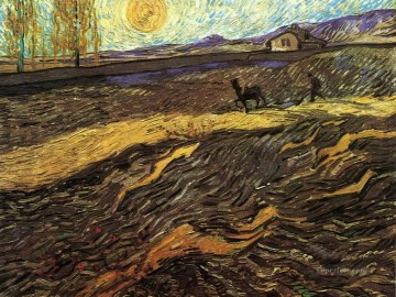 Vincent Van Gogh Painting - Enclosed Field with Ploughman Vincent van Gogh