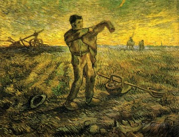 Evening The End of the Day after Millet Vincent van Gogh Oil Paintings