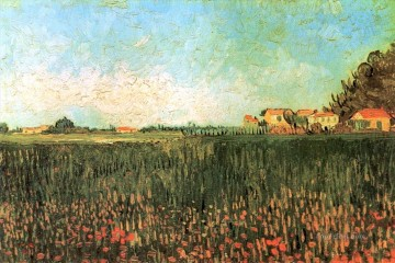 Vincent Van Gogh Painting - Farmhouses in a Wheat Field Near Arles Vincent van Gogh