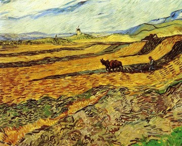 Vincent Van Gogh Painting - Field and Ploughman and Mill Vincent van Gogh