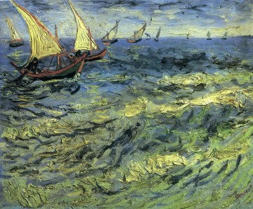 Vincent Van Gogh Painting - Fishing Boats at Sea Vincent van Gogh