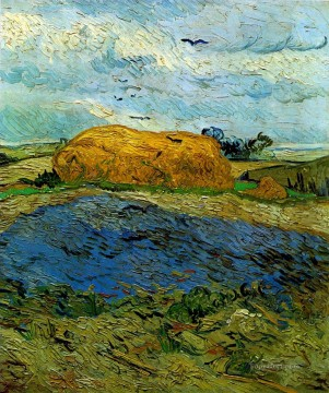 Vincent Van Gogh Painting - Haystack under a Rainy Sky Vincent van Gogh