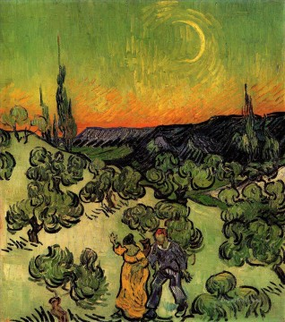 Vincent Van Gogh Painting - Landscape with Couple Walking and Crescent Moon Vincent van Gogh