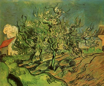 Landscape with Three Trees and a House Vincent van Gogh Oil Paintings