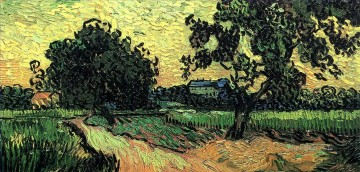 Sunset Art - Landscape with the Chateau of Auvers at Sunset Vincent van Gogh