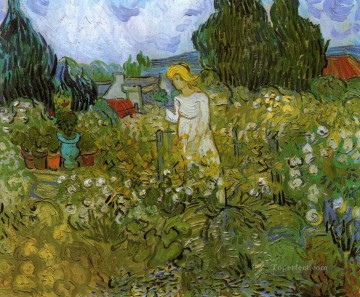 Made Oil Painting - Mademoiselle Gachet in her garden at Auvers sur Oise Vincent van Gogh