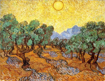 Vincent Van Gogh Painting - Olive Trees with Yellow Sky and Sun Vincent van Gogh