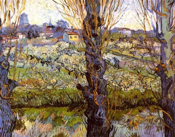Orchard in Bloom with Poplars Vincent van Gogh Oil Paintings